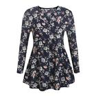 Women V-Neck Long Sleeve Floral Empire Waist Casual Loose Fit Blouse Top B0N 02