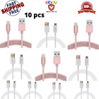 Lot 10 Pcs Micro USB Cable Aluminum Nylon Braided Charger For iPhone Galaxy typC