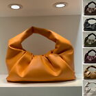Real Leather Ruched Shoulder Pouch Tote Bag Clutch Purse Party Evening Baguette