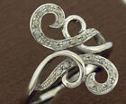 R171  Genuine 9ct Solid Gold Natural Diamond 0.20ct Scroll Swirl Dress Ring