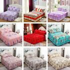 Cotton Single/Queen/King SizeFitted Bed Sheet Floral Printed Bed Skirt Bedspread image