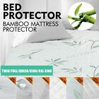 2X Bamboo Mattress Protector Topper Bed Cover Waterproof Hypoallergenic 3 Sizes image