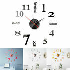 Modern Large Wall Clock 3D Stickers Big Watch Decal Roman Numeral DIY Home Decor