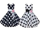 Girls 50' Style Dotted Party Dress Blue White 3 4 5 6 7 8 Years buy 1 get 1 Free