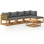 Vidaxl Solid Acacia Wood 5 Piece Garden Lounge Set With Cushions Cream/gray
