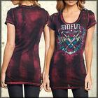 Sinful Army Of One Winged Heart Lacing Bleach Women Scoop T-Shirt Pink Black NEW