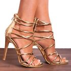 SHOE CLOSET GOLD STILETTOS PEEP TOES STRAPPY SANDALS HIGH HEELED HEEKS SHOES SIZ