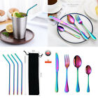Stainless Steel Tableware Cutlery Set Knife Fork Spoon Reusable Drinking Straws