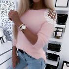 Women Sexy Cold Shoulder Knitted Tops Ladies Long Sleeve Sweater Blouse Pullover