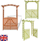 2 in 1 Wooden Garden Arbour Roses Arch with Gate Pergola Trellis Plant Climbing❤
