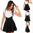 Women's Suspender Mini Skirt Stretch High Waist Skater Flared Pleated Dress