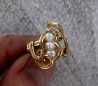 Natural Pearl Gemstone Ring in 14kt Rolled Gold  size 5 to 15  wire wrapped