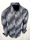 Charcoal Gray Paisley Shirt Mens Slim Fit Designer Fashion Button Up Gold Foil
