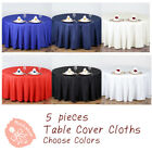 5 pc Round Tablecloth Table Cover Party Wedding Linen Colors Choose Size Color