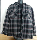 USED Men's Boston Traders Hooded Flannel Shirt Jacket w/Quilted Lining