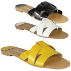 Womens Sliders Open Toe Ladies Summer Flat Mules Comfy Casual Party Shoes Size