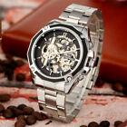 Top Forsining Men's Skeleton Automatic Mechanical Watch Stainless Steel Band image