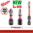 Milwaukee PZ2 PH2 50mm or 25mm option Shockwave Impact Screwdriver Bits 3rd GEN