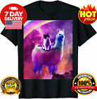 Kitty Cat Riding On Rainbow Llama In Space T-Shirt Funny Vintage Gift For Men