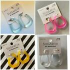 Sugarfix by Baublebar Chubby Oblong Hoop Earrings Clear yellow blue pink New  image