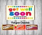 Personalised Chocolate Bar - get Well Soon - Wrapper - Great Gift Present