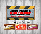 Personalised Chocolate Bar - In case of Emergency - Fun Gift - Wrapper - Sweets