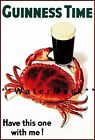 Crab Guinness Time Have this One With Me Vintage Poster Print Classic Beer Art