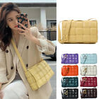Padded Woven Real Leather Quilted Shoulder Bag Crossbody Purse Flap Clutch Party