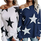 Fashion Women Tops Star Print Long Sleeve Loose Casual T-Shirt Comfort Blouse
