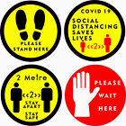 CO-VID WARNING Social Distancing FloorWall Self adhesive Sticlkers,Retail Doctor