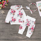 Newborn Baby Girl Clothes Floral Hooded Tops Pants Toddler Outfits Set Tracksuit