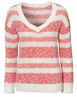UK Size 8-16 Women's Cotton V Neck Striped Jumper Ladies Sweater Coral White