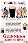 Off With It's Head Guinness Keeps It's Head Vintage Poster Print Beer Drink Ad