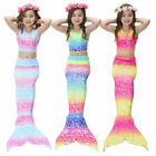 US Kids Girl Mermaid Tail Bikini Set Swimmable Tail Swimming Swimwear Costumes