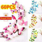 60pcs 3d Butterfly Wall Art Decal Stickers Magnet Mural Home Room Decoration Diy