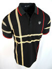 Mens Polo Shirt Niko Black Plaid Engineered Print Italia Crest Slim Fit Stretch