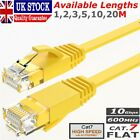 RJ45 Flat Ethernet Cable Cat7 High Speed Shielded Network Lead 1m - 20m Lot