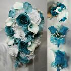 Turquoise Teal White Rose Calla Lily Bridal Wedding Bouquet  Boutonniere