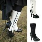 Womens Steampunk Lace Gothic Lolita Leather High Heels Boots Cosplay Costume Hot