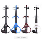 Silent Electric Violin Fiddle Solid Wood Maple Body Ebony Fingerboard With Case