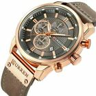 Men Waterproof Leather Watch Army Military Chronograph Date Quartz Wrist Watches