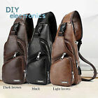 Men's Shoulder Bag Sling Chest Pack Canvas Usb Charging Crossbody Handbag Us
