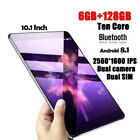 """New 10.1"""" SIM Camera WIFI HD Touch Screen 6 128GB Android Tablet PC New"""