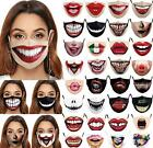 Women Funny Face Adjustable Washable Masks Adult Unisex Mouth Protective Filters