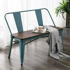 Metal Bench Industrial Mid-Century 2 Person Chair with Wood Seat Dining Bench