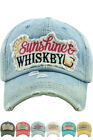 KBETHOS Sunshine and Whiskey Washed Vintage Distressed Adjustable Baseball Cap