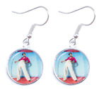 New Harry Styles Silverplated Drop Earrings 16mm Glass Cabochon Tracked Delivery