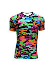 Men's Funky Multi Camo Camouflage V Neck All Over Print T-Shirt Top Tee Fashion