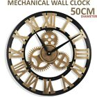 Large Outdoor Garden Wall Clock Roman Large Numeral 50CM Round Face Black Golden