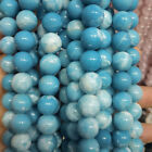 "AAA Natural Blue Larimar Quartz Round Beads Gemstone 15.5"" Strand 4mm-14mm"